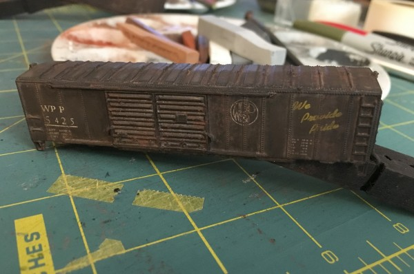 boxcar with chalk wash
