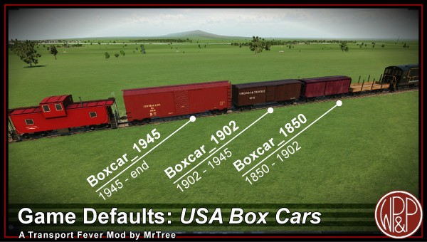 Default set of 3 boxcars