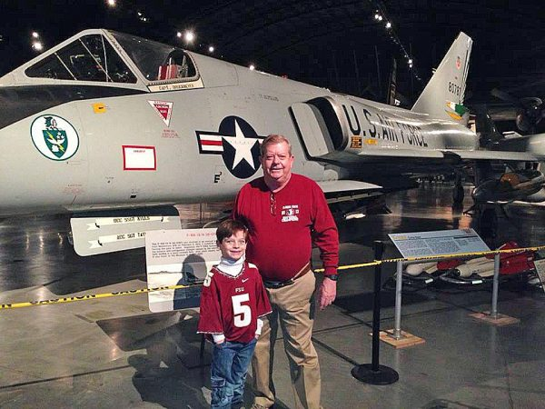 Fig. 6: Me and my Grandson at the display of 787 in the Air Force Museum