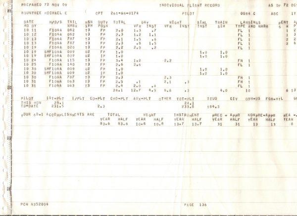 Fig. 7: October 1972 log.